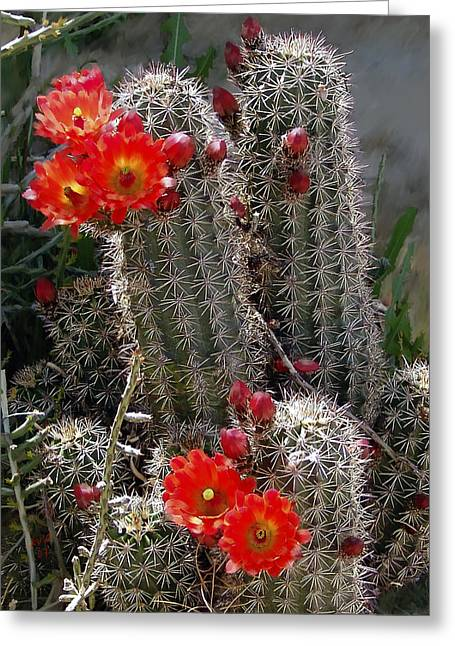 Cacti Digital Greeting Cards - New Mexico cactus Greeting Card by Kurt Van Wagner