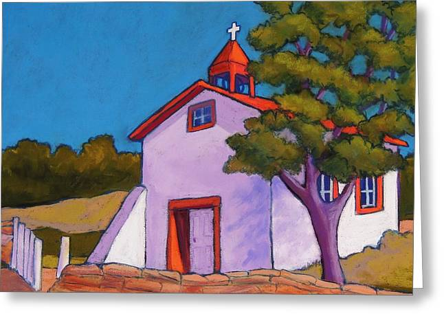 Southwest Pastels Greeting Cards - New Mexico Church Greeting Card by Candy Mayer