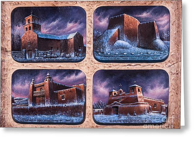 Relief Mixed Media Greeting Cards - New Mexico Churches in Snow Greeting Card by Ricardo Chavez-Mendez