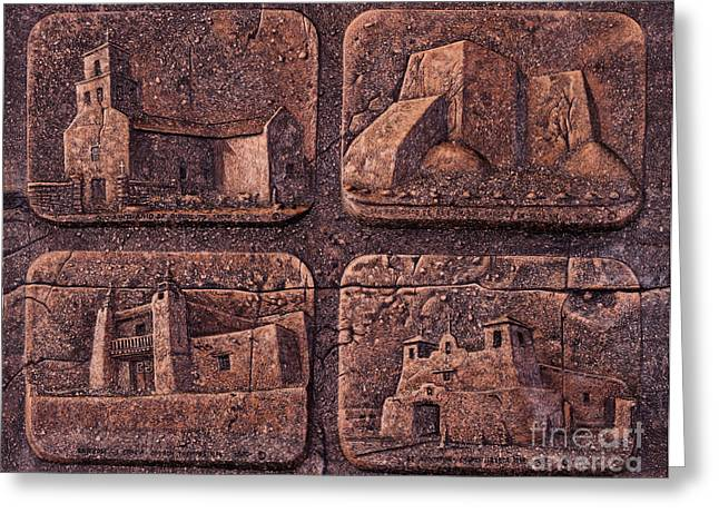 Relief Mixed Media Greeting Cards - New Mexico Churches Greeting Card by Ricardo Chavez-Mendez
