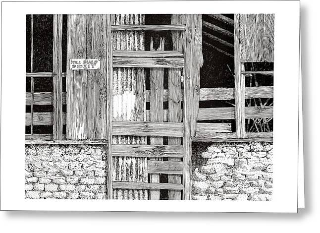 Best Sellers -  - Barn Pen And Ink Greeting Cards - Will build to suit New Mexico Doors Greeting Card by Jack Pumphrey