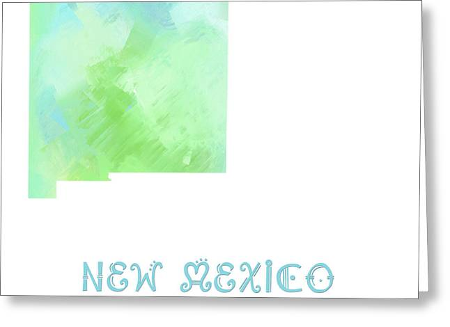 State Phrase Greeting Cards - New Mexico - Land of Enchantment - Map - State Phrase - Geology Greeting Card by Andee Design