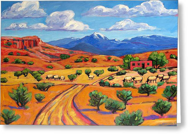 Grazing Snow Paintings Greeting Cards - New Mexico Landscape with Sheep Greeting Card by Patty Baker