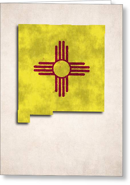 Flag Of Usa Greeting Cards - New Mexico Map Art with Flag Design Greeting Card by World Art Prints And Designs