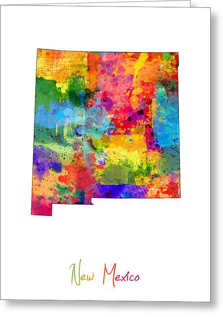 New Mexico Digital Greeting Cards - New Mexico Map Greeting Card by Michael Tompsett