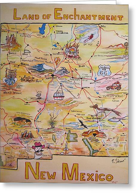 Cavern Paintings Greeting Cards - New Mexico Map Greeting Card by TJ Shinas