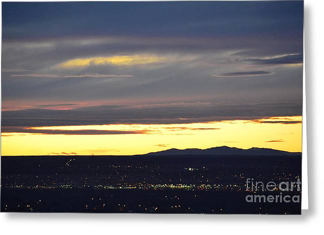 Mexico City Greeting Cards - New Mexico Mount Taylor Sunset Greeting Card by Andrea Hazel Ihlefeld