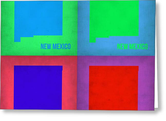 Mexico City Digital Greeting Cards - New Mexico Pop Art Map 1 Greeting Card by Naxart Studio
