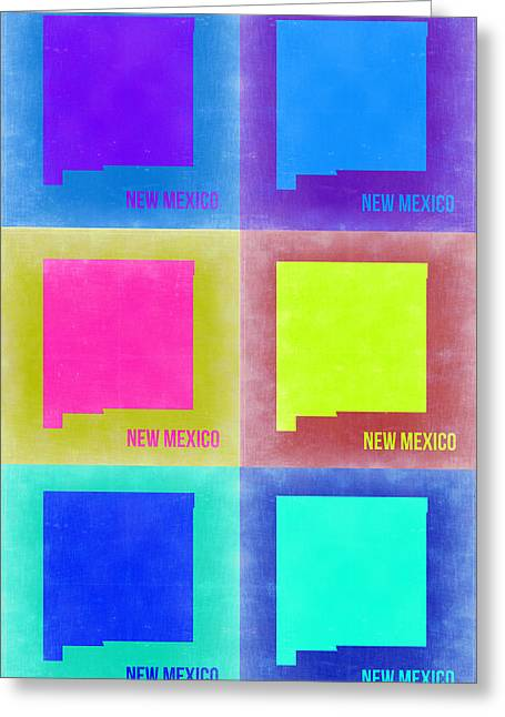 Mexico City Digital Greeting Cards - New Mexico Pop Art Map 2 Greeting Card by Naxart Studio