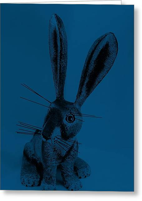 Bugs Bunny Greeting Cards - New Mexico Rabbit Denim Blue Greeting Card by Rob Hans