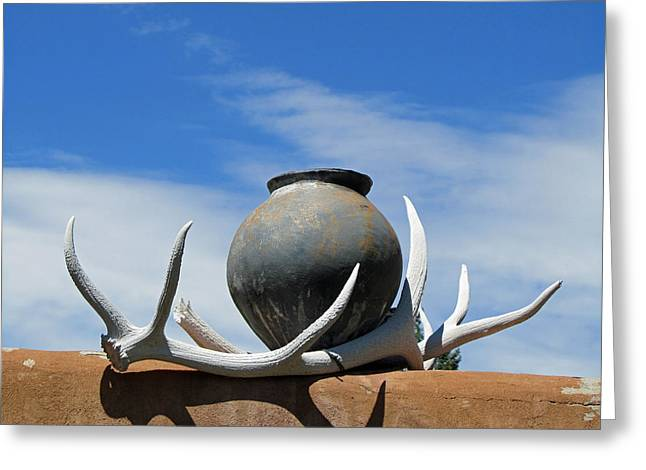 Elizabeth Rose Greeting Cards - New Mexico Scene with Bleached Antlers and Pottery Greeting Card by Elizabeth Rose
