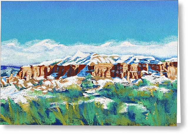 Skylines Pastels Greeting Cards - New Mexico Skyline Greeting Card by Tracy L Teeter