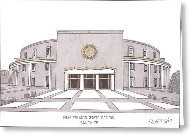 Capitol Drawings Greeting Cards - New Mexico State Capitol Greeting Card by Frederic Kohli