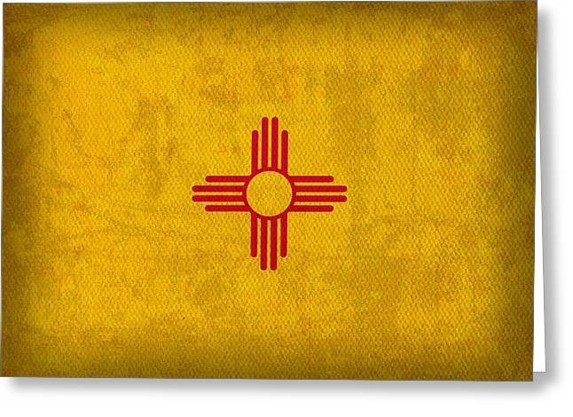 Worn Greeting Cards - New Mexico State Flag Art on Worn Canvas Greeting Card by Design Turnpike