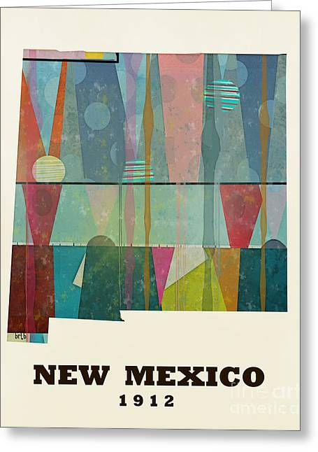 World Map Print Paintings Greeting Cards - New Mexico State Map Modern Greeting Card by Bri Buckley