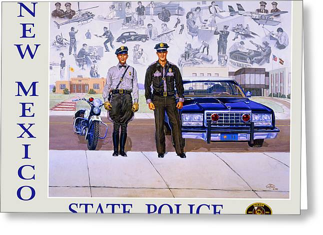 Police Car Greeting Cards - New Mexico State Police Poster Greeting Card by Randy Follis