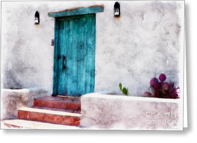 Las Cruces New Mexico Greeting Cards - New Mexico Turquoise Door and Cactus  Greeting Card by Barbara Chichester
