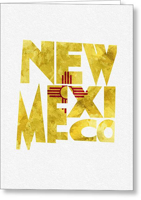 Urban Pyrography Greeting Cards - New Mexico Typographic Map Flag Greeting Card by Ayse Deniz