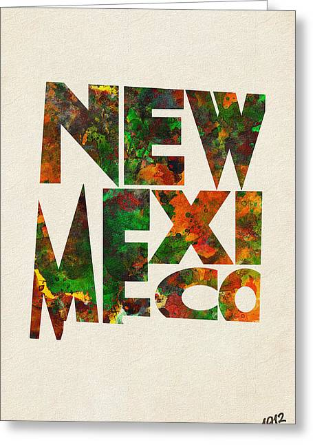 Homeland Greeting Cards - New Mexico Typographic Watercolor Map Greeting Card by Ayse Deniz