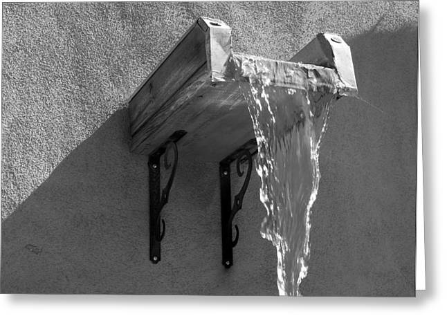 Santa Fe Fountain Greeting Cards - New Mexico Water bw Greeting Card by Elizabeth Sullivan