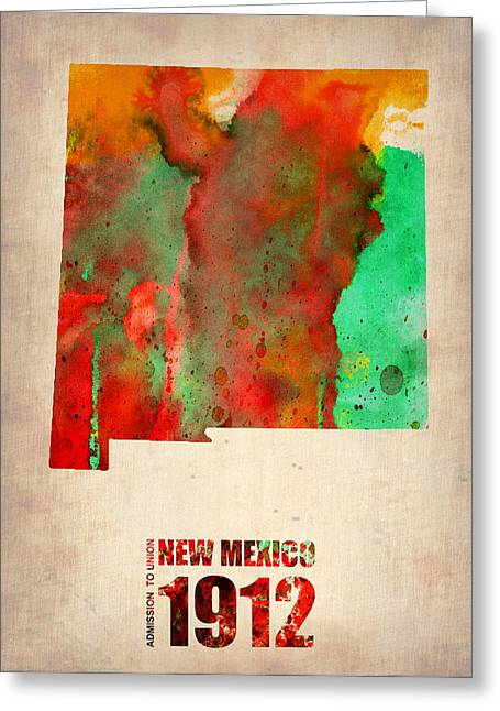 New Mexico Greeting Cards - New Mexico Watercolor Map Greeting Card by Naxart Studio