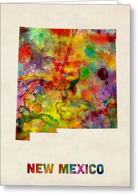 Cartography Digital Art Greeting Cards - New Mexico Watercolor Map Greeting Card by Michael Tompsett