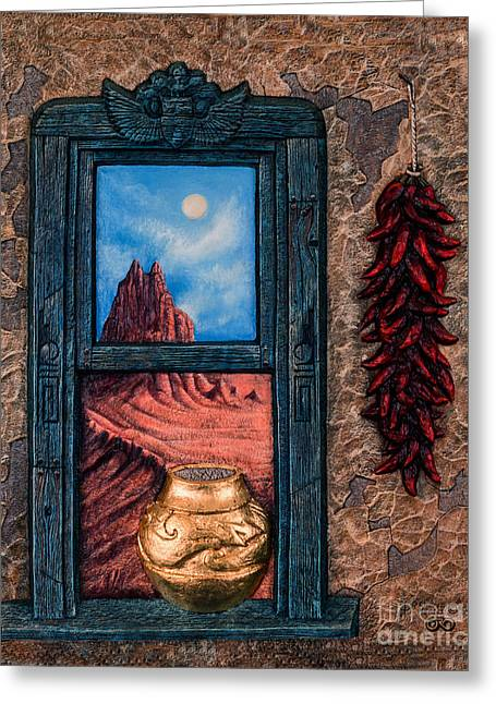 Textured Landscapes Greeting Cards - New Mexico Window Gold Greeting Card by Ricardo Chavez-Mendez