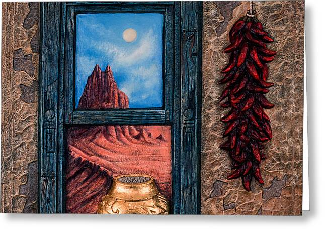 Chavez-mendez Greeting Cards - New Mexico Window Gold Greeting Card by Ricardo Chavez-Mendez