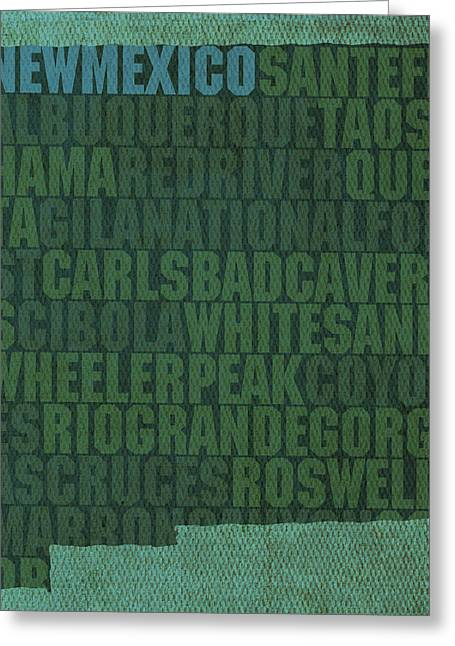 Albuquerque Greeting Cards - New Mexico Word Art State Map on Canvas Greeting Card by Design Turnpike