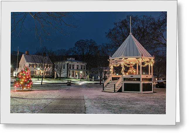 New England Village Greeting Cards - New Milford Green - Christmas Morning Greeting Card by Thomas Schoeller