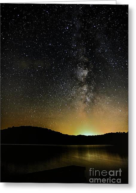 Star Field Greeting Cards - New Moon Lake Greeting Card by Thomas R Fletcher