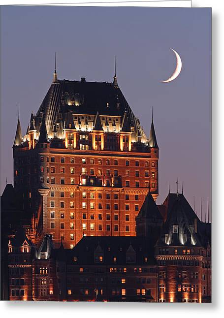 Chateau Greeting Cards - New Moon over Chateau Frontenac In Quebec City Greeting Card by Juergen Roth