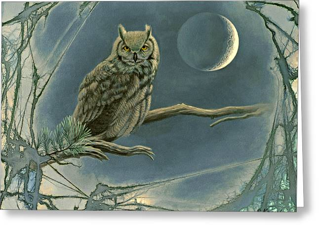 Great-horned Owls Greeting Cards - New Moon   Greeting Card by Paul Krapf