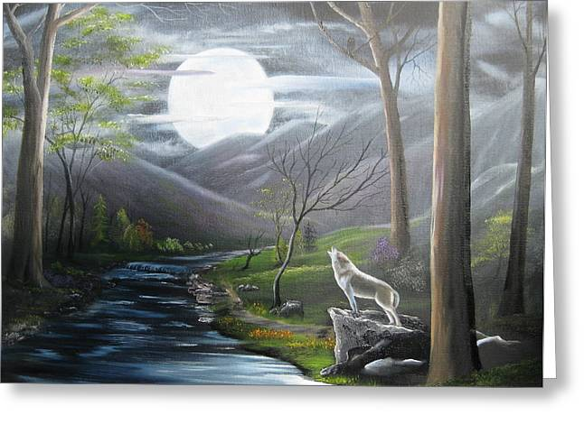 Wolf Creek Paintings Greeting Cards - New Moon Greeting Card by RJ McNall