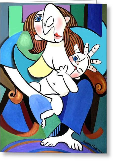 Child Canvas Greeting Cards - New Mother With Child Greeting Card by Anthony Falbo