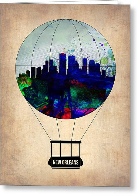 Balloon Digital Greeting Cards - New Orleans Air Balloon Greeting Card by Naxart Studio