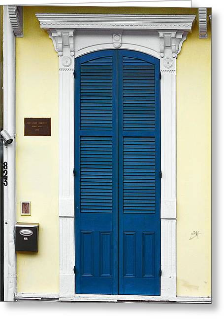 Houses Greeting Cards - New Orleans Blue Door Greeting Card by Christine Till