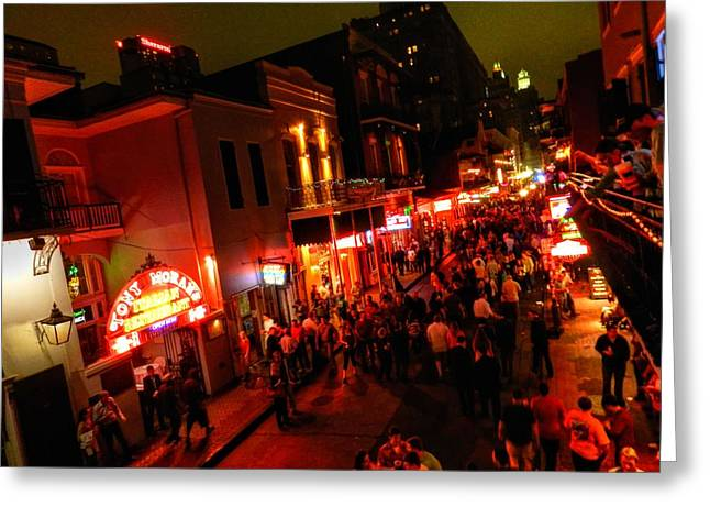 New Orleans - Bourbon St. 003 Greeting Card by Lance Vaughn