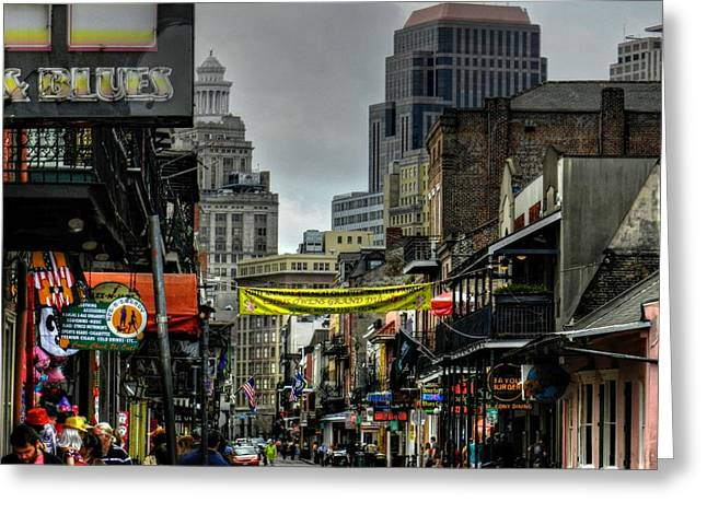 New Orleans - Bourbon Street 008 Greeting Card by Lance Vaughn
