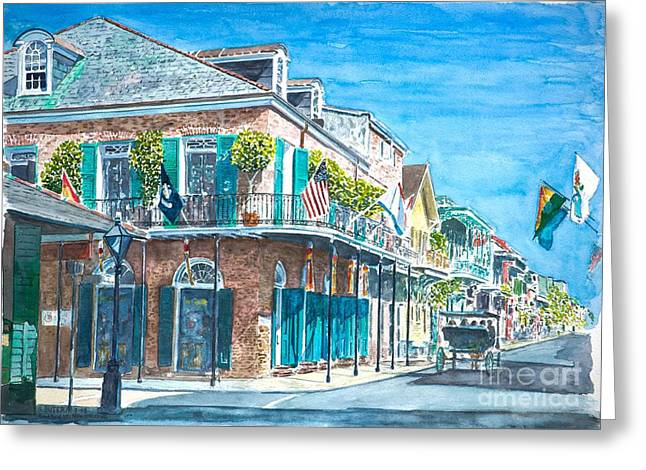 Fine Artworks Greeting Cards - New Orleans Bourbon Street Greeting Card by Anthony Butera