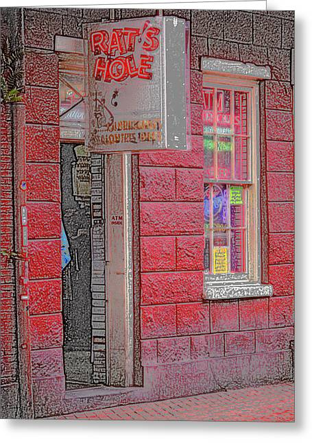 New Orleans Louisiana Framed Prints Greeting Cards - New Orleans - Bourbon Street with Pencil Effect Greeting Card by Frank Romeo