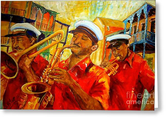 Saxaphone Greeting Cards - New Orleans Brass Band Greeting Card by Diane Millsap