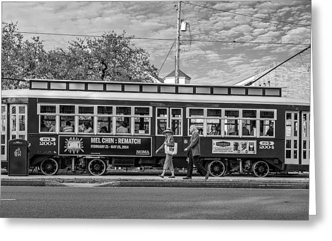 Canal Street Greeting Cards - New Orleans - Canal St Streetcar BW Greeting Card by Steve Harrington
