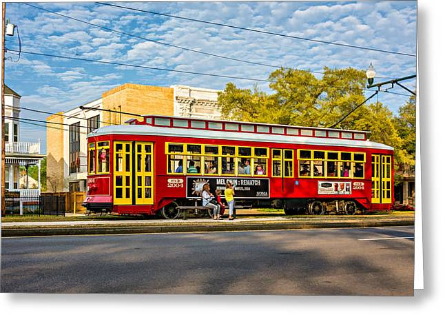 Canal Street Greeting Cards - New Orleans - Canal St Streetcar Painterly Greeting Card by Steve Harrington