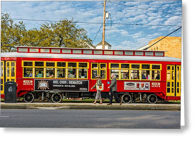 Canal Street Greeting Cards - New Orleans - Canal St Streetcar Greeting Card by Steve Harrington