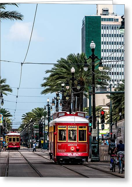 Louisiana Greeting Cards - New Orleans Canal Street streetcars Greeting Card by Andy Crawford
