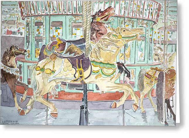 Contemporary Art Paintings Greeting Cards - New Orleans Carousel Greeting Card by Anthony Butera