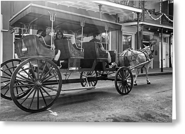 French Door Greeting Cards - New Orleans Carriage Ride BW Greeting Card by Steve Harrington