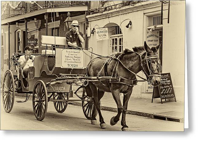 French Door Greeting Cards - New Orleans - Carriage Ride sepia Greeting Card by Steve Harrington