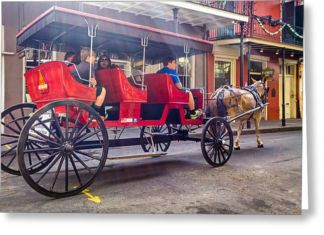 French Door Greeting Cards - New Orleans Carriage Ride Greeting Card by Steve Harrington